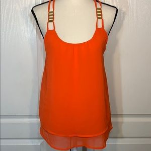 Mine orange tank top with gold metal accent